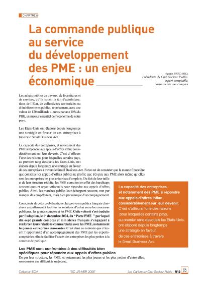 La commande publique au service du développement des PME
