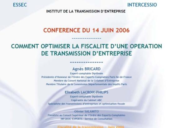 Conférence : comment optimiser la fiscalité d'une opération de transmission d'entreprise