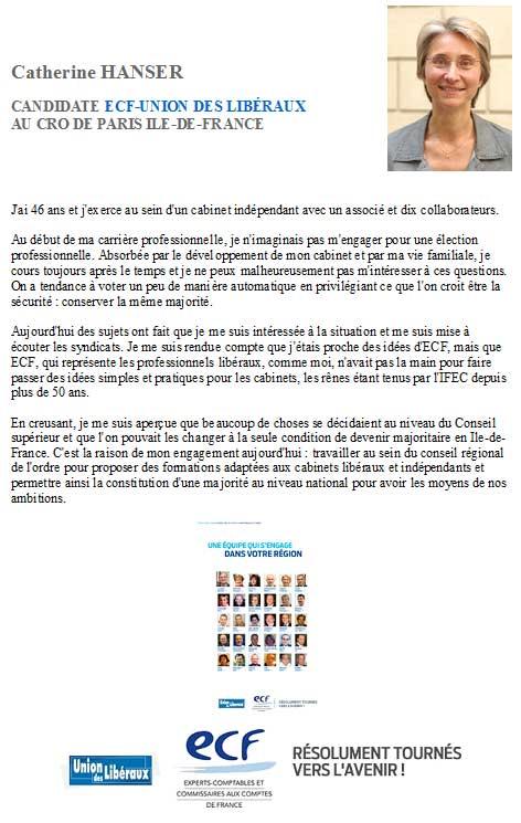 Catherine Hanser, candidate ECF-Union des Libéraux au CRO de Paris Ile-de-France