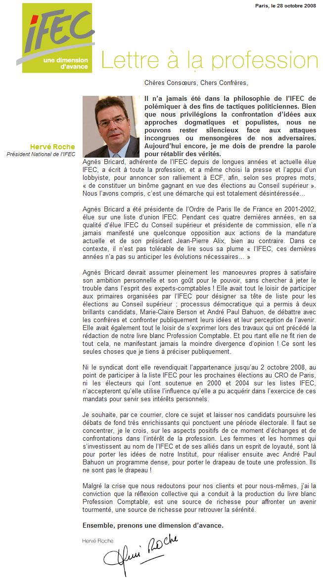 Courrier d'Hervé Roche à la profession du 28 octobre 2008
