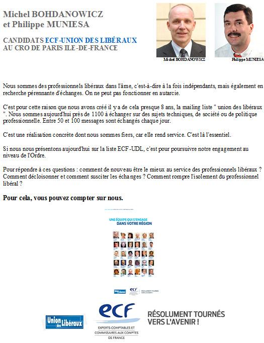 Michel BOHDANOWICZ et Philippe MUNIESA candidats ECF - Union des Libéraux au CRO de Paris Ile-de-France