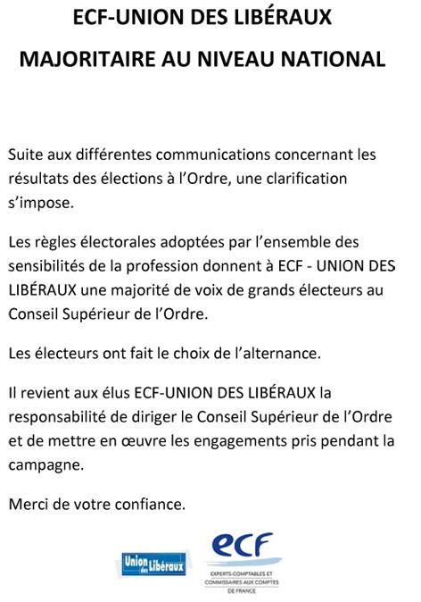 ECF – Union des Libéraux, majoritaire au niveau national
