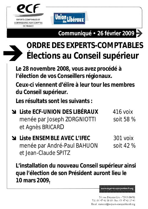 ECF - Union des Libéraux remporte les élections au Conseil Supérieur de l'Ordre des Experts-Comptables