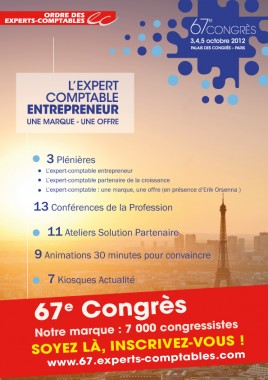 67ème Congrès de l'Ordre des Experts-Comptables, les 3, 4 et 5 octobre au Palais des Congrès à Paris !